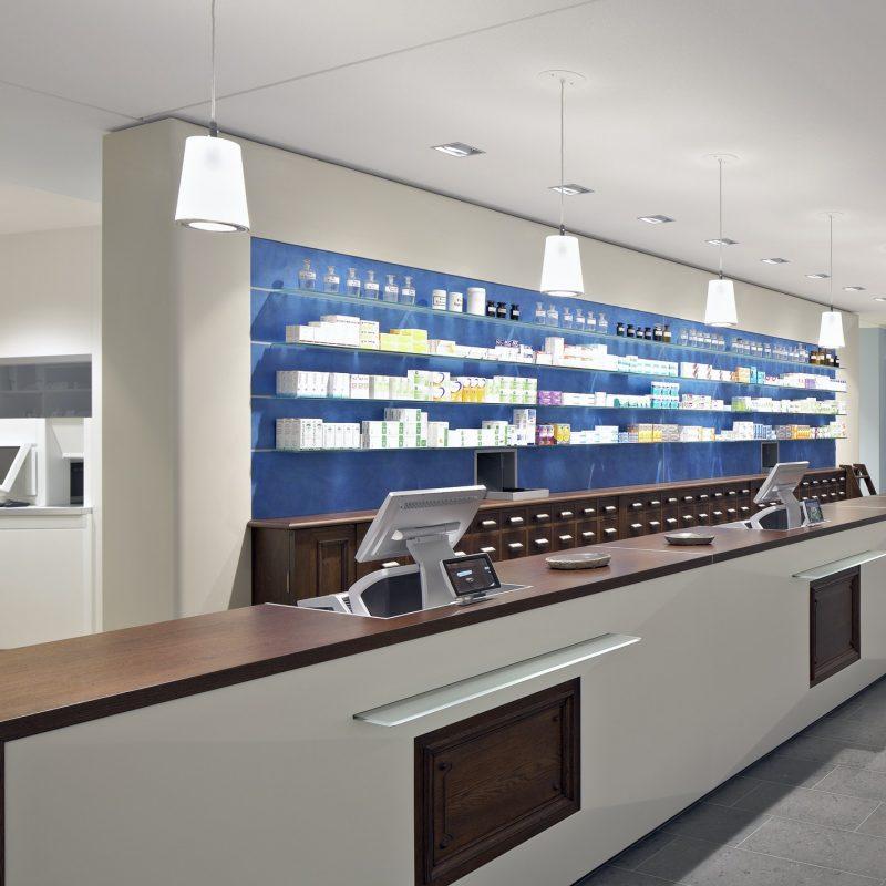 Interior of empty modern pharmacy